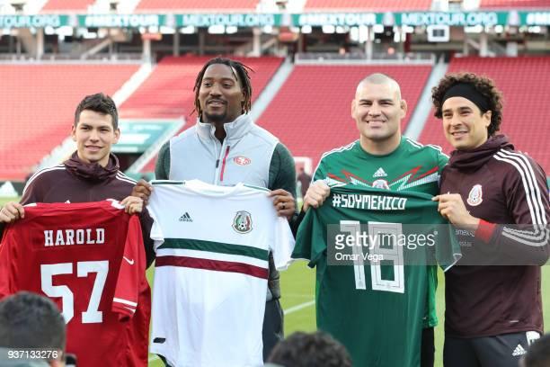 Hirving Lozano of Mexico Football player Eli Harold of San Francisco 49ers former UFC heavyweight Champion Cain Velasquez and Guillermo Ochoa of...