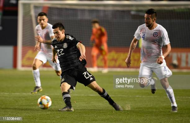 HIrving Lozano of Mexico passes during the International Friendly match between Mexico and Chile at SDCCU Stadium on March 22 2019 in San Diego