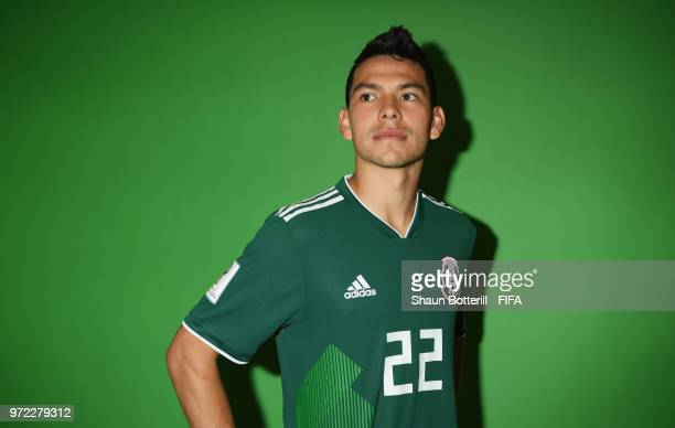 Hirving Lozano of Mexico poses for a portrait during the official FIFA World Cup 2018 portrait session at the team hotel on June 12 2018 in Moscow...