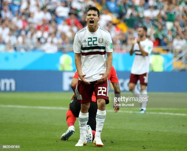 Hirving Lozano of Mexico reacts during the 2018 FIFA World Cup Russia group F match between Korea Republic and Mexico at Rostov Arena on June 23 2018...