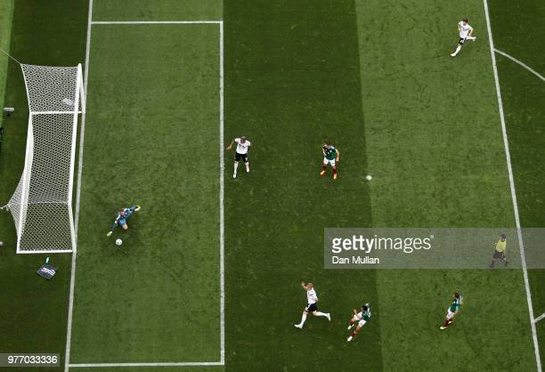 Hirving Lozano of Mexico scores his team's first goal during the 2018 FIFA World Cup Russia group F match between Germany and Mexico at Luzhniki...