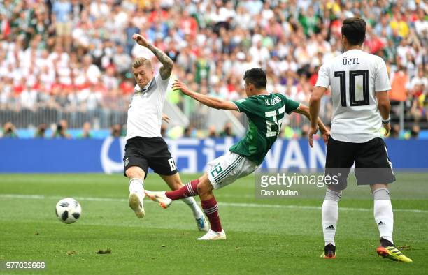 Hirving Lozano of Mexico scores the opening goal during the 2018 FIFA World Cup Russia group F match between Germany and Mexico at Luzhniki Stadium...