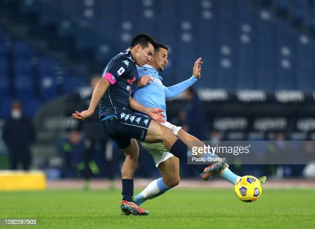 Hirving Lozano of Napoli battles for possession with Luiz Felipe of Lazio during the Serie A match between SS Lazio and SSC Napoli at Stadio Olimpico...