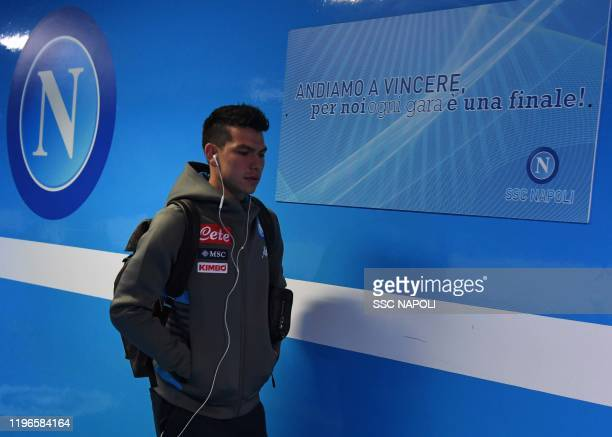 Hirving Lozano of Napoli before the Serie A match between SSC Napoli and Juventus at Stadio San Paolo on January 26 2020 in Naples Italy