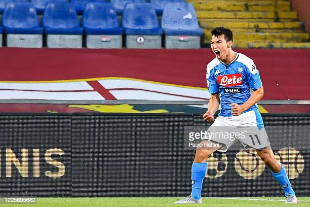 Hirving Lozano of Napoli celebrates after scoring a goal during the Serie A match between Genoa CFC and SSC Napoli at Stadio Luigi Ferraris on July 8...