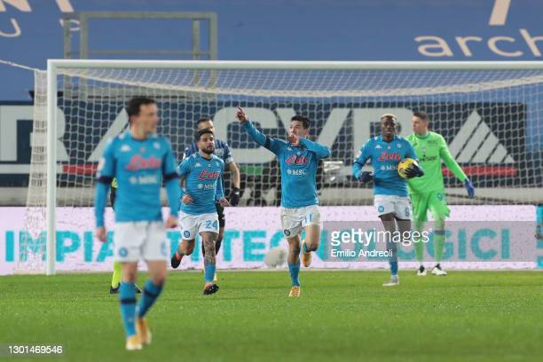 Hirving Lozano of Napoli celebrates after scoring his team's first goal during the Coppa Italia match between Atalanta BC and SSC Napoli at Gewiss...