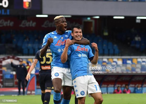 Hirving Lozano of Napoli celebrates after scoring the first goal of Napoli during the Serie A match between SSC Napoli and Genoa CFC at Stadio San...