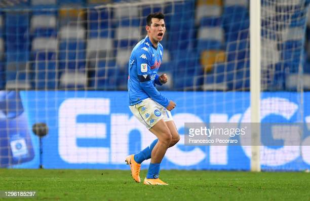 Hirving Lozano of Napoli celebrates after scoring their team's second goal during the Coppa Italia match between SSC Napoli and Empoli FC at Stadio...