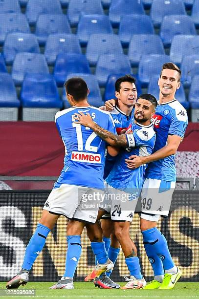 Hirving Lozano of Napoli celebrates with his teammates Eljif Elmas Lorenzo Insigne and Arkadiusz Milik after scoring a goal during the Serie A match...