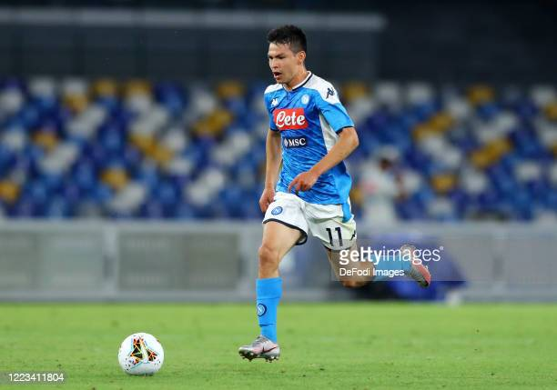 Hirving Lozano of Napoli controls the ball during the Serie A match between SSC Napoli and SPAL at Stadio San Paolo on June 28 2020 in Naples Italy