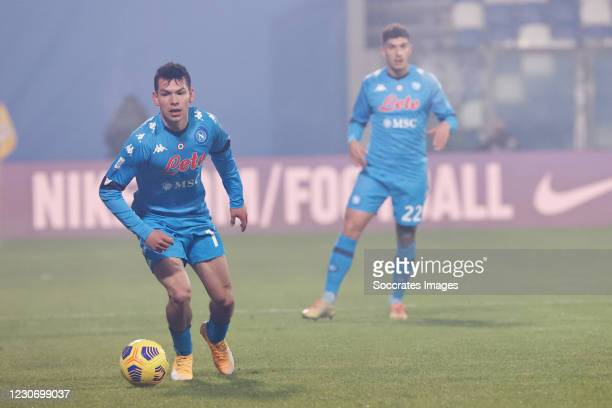 Hirving Lozano of Napoli during the Italian Super Cup match between Juventus v Napoli at the Allianz Stadium on January 20, 2021 in Turin Italy