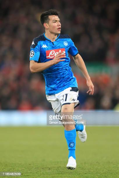 Hirving Lozano of Napoli in action during the UEFA Champions League group E match between Liverpool FC and SSC Napoli at Anfield on November 27 2019...
