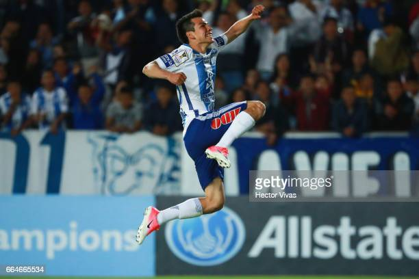 Hirving Lozano of Pachuca celebrates after scoring the second goal of his team during the semifinals second leg match between Pachuca and FC Dallas...