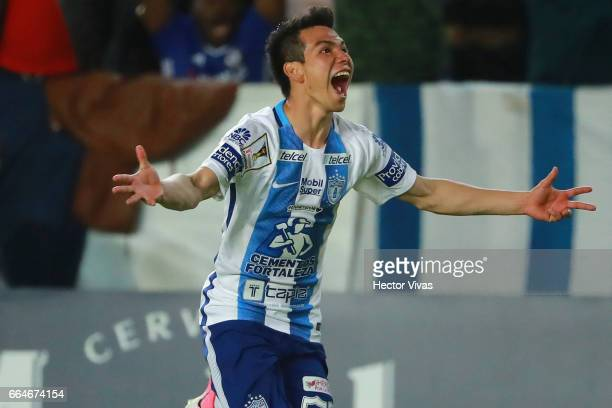 Hirving Lozano of Pachuca celebrates after scoring the third and winning goal of his team during the semifinals second leg match between Pachuca and...