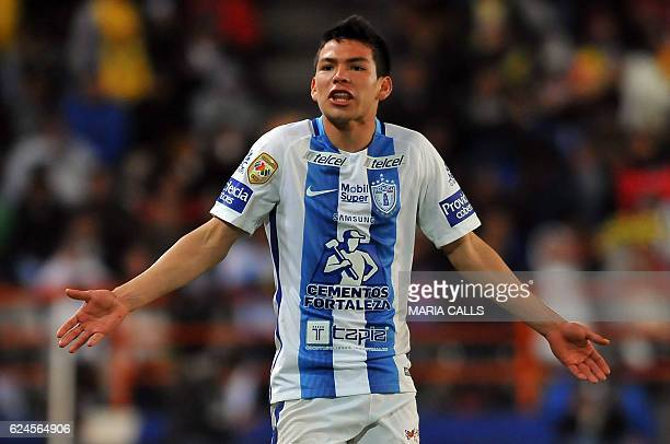 Hirving Lozano of Pachuca gestures during their Mexican Apertura 2016 Tournament football match against America at Hidalgo stadium on November 19...