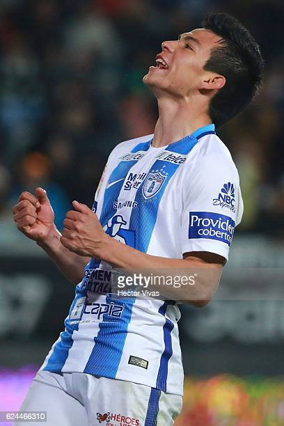 Hirving Lozano of Pachuca reacts during the 17th round match between Pachuca and America as part of the Torneo Apertura 2016 Liga MX at Hidalgo...