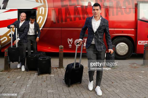 Hirving Lozano of PSV arrives with the players bus during the Dutch Eredivisie match between PSV v FC Emmen at the Philips Stadium on October 20 2018...