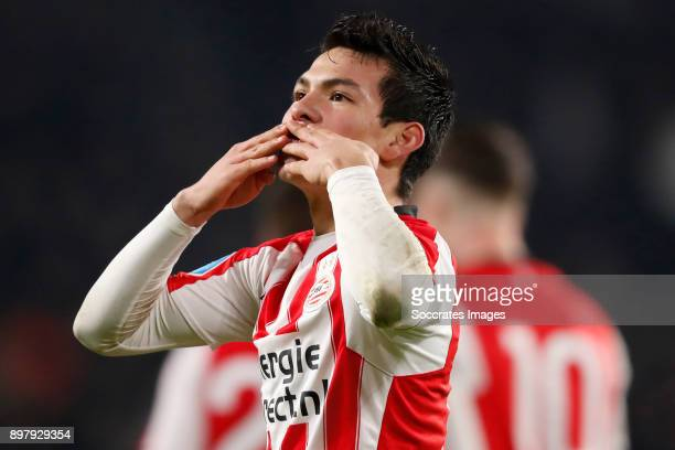 Hirving Lozano of PSV Celebrate goal during the Dutch Eredivisie match between PSV v Vitesse at the Philips Stadium on December 23 2017 in Eindhoven...