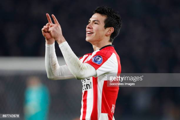 Hirving Lozano of PSV Celebrate his goal during the Dutch Eredivisie match between PSV v Vitesse at the Philips Stadium on December 23 2017 in...