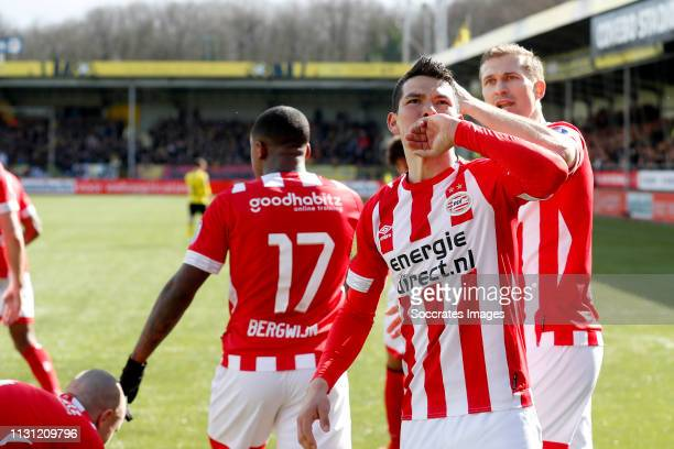 Hirving Lozano of PSV celebrates 01 during the Dutch Eredivisie match between VVVvVenlo PSV at the Seacon Stadium De Koel on March 17 2019 in Venlo...
