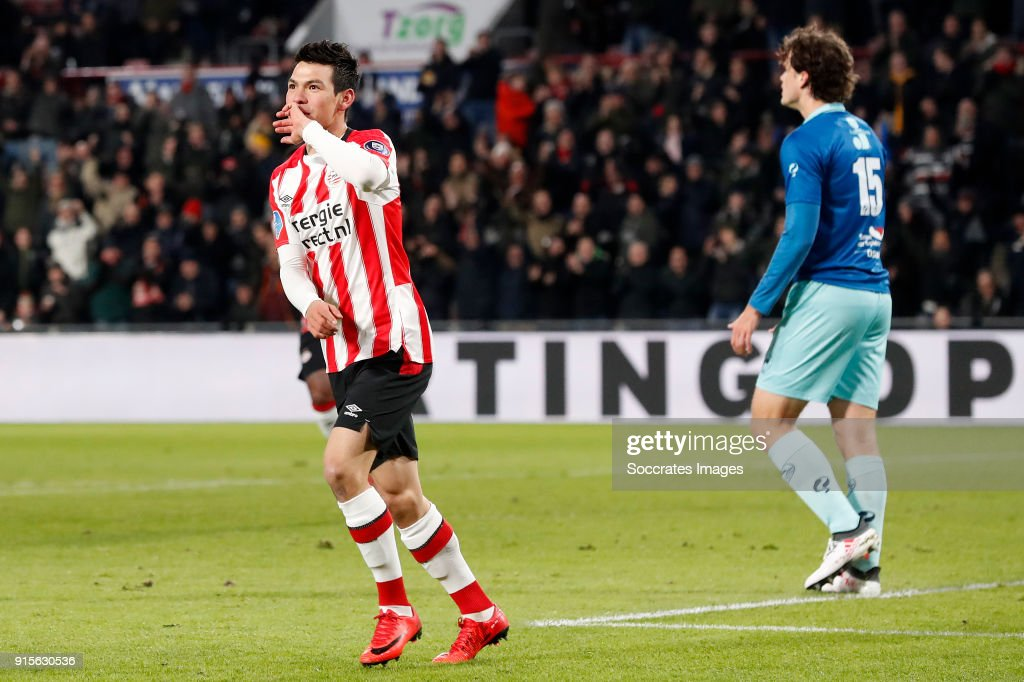 Hirving Lozano of PSV celebrates 1-0 during the Dutch Eredivisie match between PSV v Excelsior at the Philips Stadium on February 7, 2018 in Eindhoven Netherlands