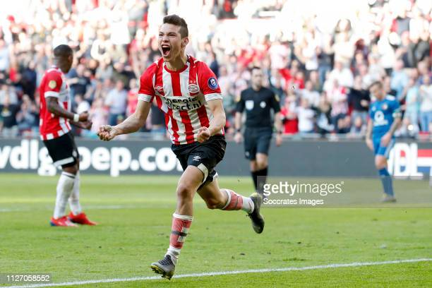 Hirving Lozano of PSV celebrates 11 during the Dutch Eredivisie match between PSV v Feyenoord at the Philips Stadium on February 24 2019 in Eindhoven...