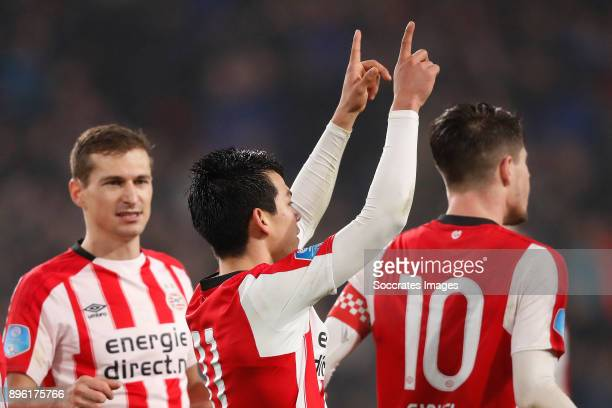 Hirving Lozano of PSV celebrates 31 with during the Dutch KNVB Beker match between PSV v VVVVenlo at the Philips Stadium on December 20 2017 in...