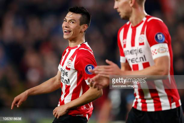 Hirving Lozano of PSV celebrates 60 during the Dutch Eredivisie match between PSV v FC Emmen at the Philips Stadium on October 20 2018 in Eindhoven...