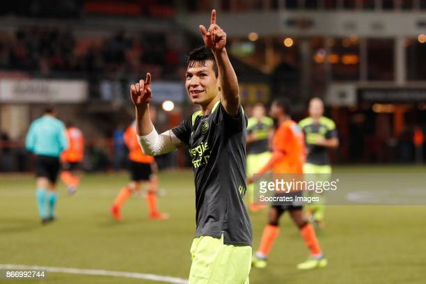 Hirving Lozano of PSV celebrates the 02 during the Dutch KNVB Beker match between FC Volendam v PSV at the Kras Stadium on October 26 2017 in...