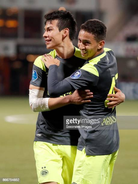 Hirving Lozano of PSV celebrates the 02 with Mauro Jaqueson Junior Ferreira dos Santos of PSV during the Dutch KNVB Beker match between FC Volendam v...
