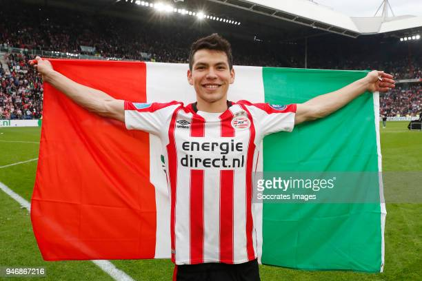 Hirving Lozano of PSV celebrates the championship during the PSV trophy celebration at the Philips Stadium on April 15 2018 in Eindhoven Netherlands