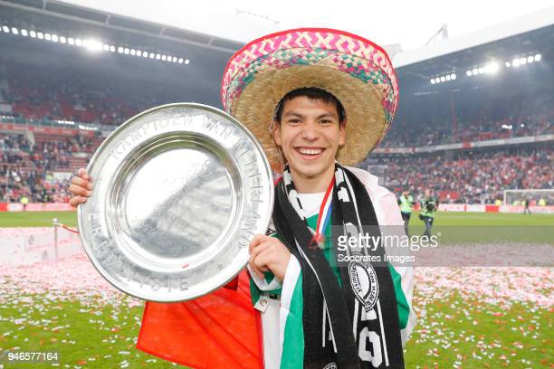 Hirving Lozano of PSV celebrates the championship with trophy during the PSV trophy celebration at the Philips Stadium on April 15 2018 in Eindhoven...