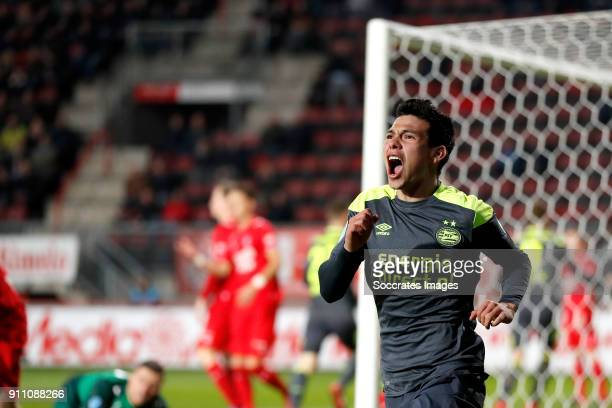 Hirving Lozano of PSV during the Dutch Eredivisie match between Fc Twente v PSV at the De Grolsch Veste on January 27 2018 in Enschede Netherlands