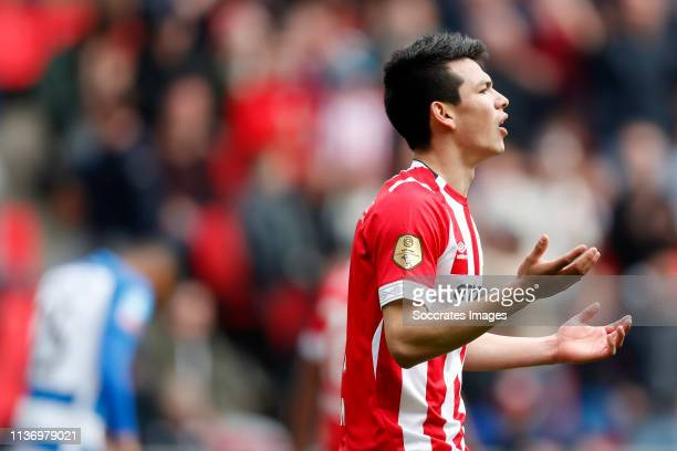 Hirving Lozano of PSV during the Dutch Eredivisie match between PSV v De Graafschap at the Philips Stadium on April 14 2019 in Eindhoven Netherlands