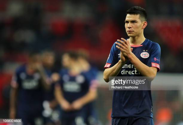 Hirving Lozano of PSV Eindhoven applauds fans after the Group B match of the UEFA Champions League between Tottenham Hotspur and PSV at Wembley...