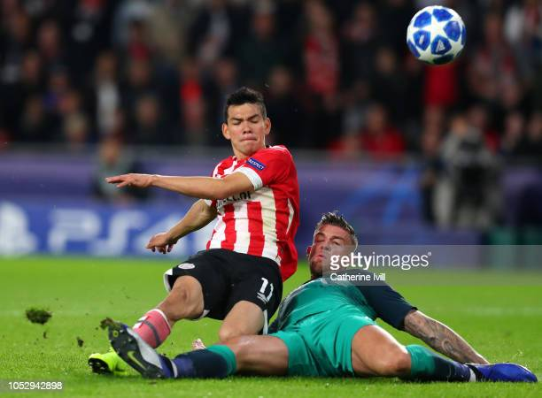 Hirving Lozano of PSV Eindhoven scores his team's first goal during the Group B match of the UEFA Champions League between PSV and Tottenham Hotspur...