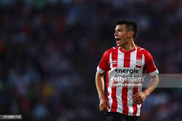 Hirving Lozano of PSV in action during the Eredivisie match between PSV and Utrecht at Philips Stadion on August 11 2018 in Eindhoven Netherlands