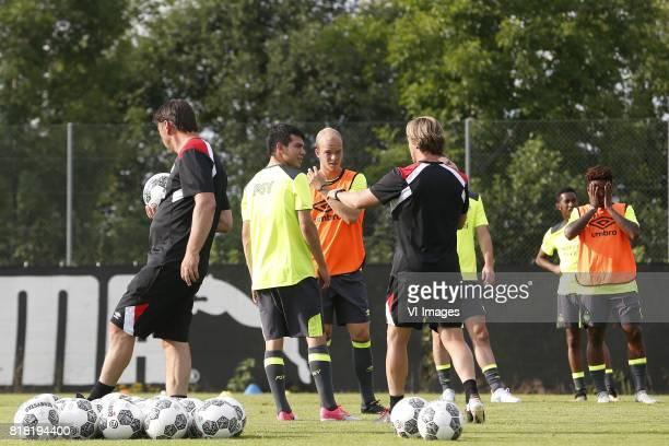 Hirving Lozano of PSV Jorrit Hendrix of PSV assistant trainer Boudewijn Zenden of PSV during the preseason summer training camp of PSV Eindhoven at...