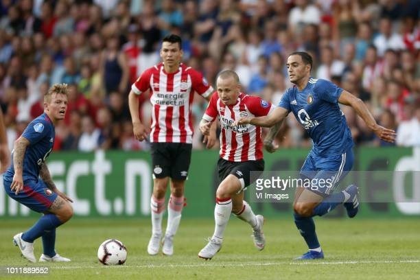 Hirving Lozano of PSV Jose Angelino of PSV Sofyan Amrabat of Feyenoord during the Johan Cruijff Shield match between between PSV Eindhoven and...