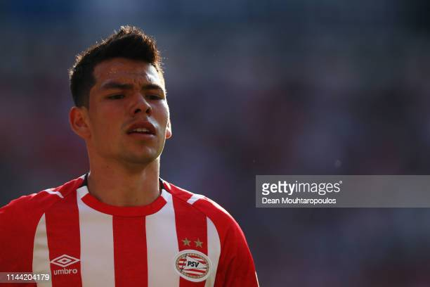 Hirving Lozano of PSV looks on during the Eredivisie match between PSV and ADO Den Haag at Philips Stadion on April 21 2019 in Eindhoven Netherlands