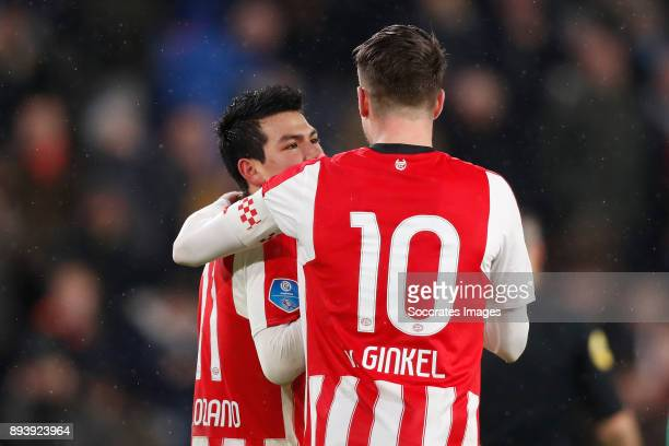 Hirving Lozano of PSV Marco van Ginkel of PSV Celebrate his goal during the Dutch Eredivisie match between PSV v ADO Den Haag at the Philips Stadium...
