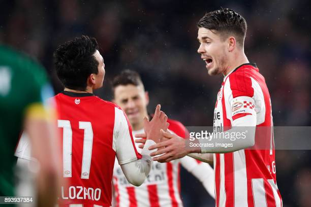 Hirving Lozano of PSV Marco van Ginkel of PSV during the Dutch Eredivisie match between PSV v ADO Den Haag at the Philips Stadium on December 16 2017...