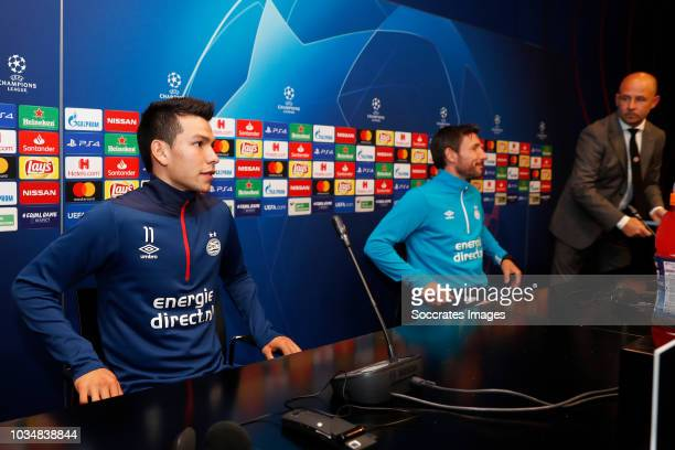 Hirving Lozano of PSV Mark van Bommel of PSV Thijs Slegers of PSV during the Training PSV at the Camp Nou on September 17 2018 in Barcelona Spain