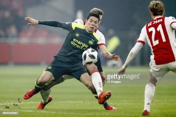 Hirving Lozano of PSV Matthijs de Ligt of Ajax Frenkie de Jong of Ajax during the Dutch Eredivisie match between Ajax Amsterdam and PSV Eindhoven at...