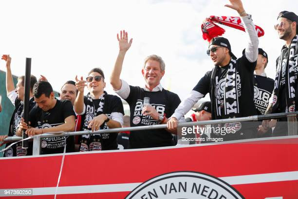 Hirving Lozano of PSV Santiago Arias of PSV Marcel Brands of PSV Maximiliano Romero of PSV leaving the stadium during the champions parade during the...