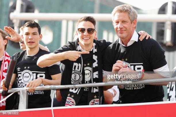 Hirving Lozano of PSV Santiago Arias of PSV Marcel Brands of PSV leaving the stadium during the champions parade during the PSV champions parade at...