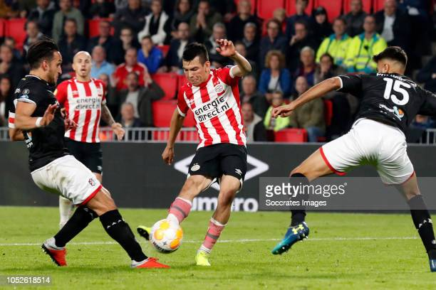 Hirving Lozano of PSV scores the sixth goal to make it 60 during the Dutch Eredivisie match between PSV v FC Emmen at the Philips Stadium on October...