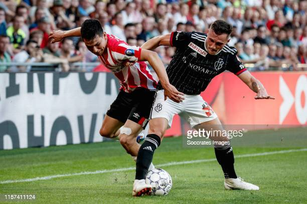 Hirving Lozano of PSV, Silvan Widmer of FC Basel during the UEFA Champions League match between PSV v Fc Basel at the Philips Stadium on July 23,...