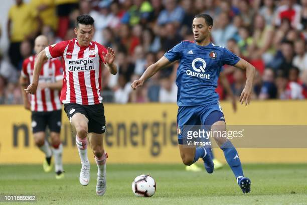 Hirving Lozano of PSV Sofyan Amrabat of Feyenoord during the Johan Cruijff Shield match between between PSV Eindhoven and Feyenoord Rotterdam at the...
