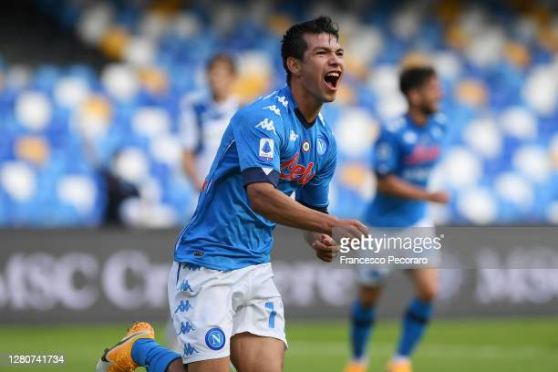 Hirving Lozano of SSC Napoli celebrates after scoring the 1-0 goal during the Serie A match between SSC Napoli and Atalanta BC at Stadio San Paolo on...